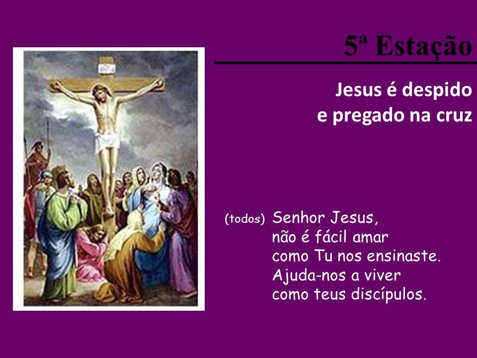 5ª Estação Jesus é despido e pregado na cruz não é fácil amar