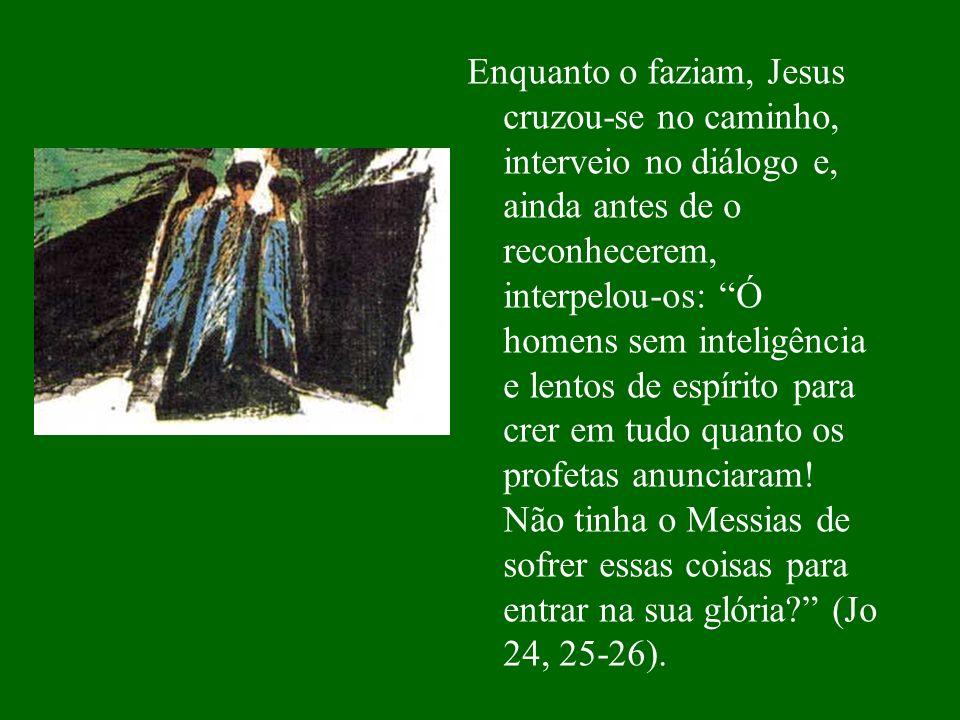 Enquanto o faziam, Jesus cruzou-se no caminho, interveio no diálogo e, ainda antes de o reconhecerem, interpelou-os: Ó homens sem inteligência e lentos de espírito para crer em tudo quanto os profetas anunciaram.