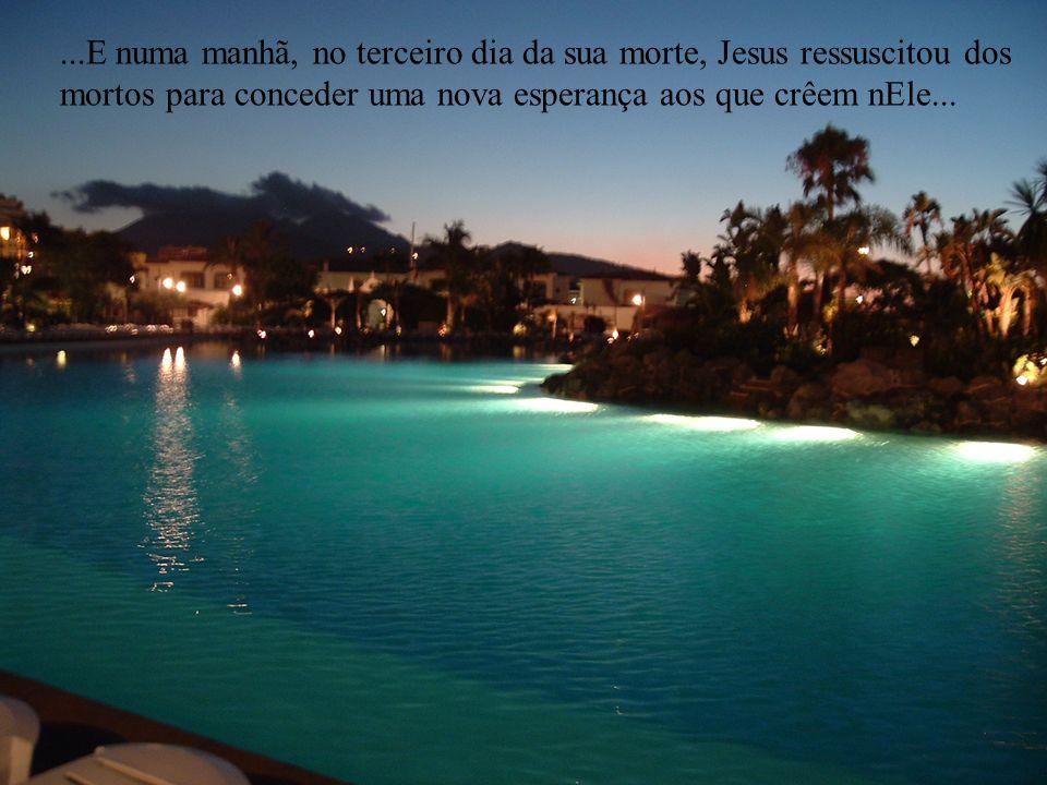 ...E numa manhã, no terceiro dia da sua morte, Jesus ressuscitou dos mortos para conceder uma nova esperança aos que crêem nEle...