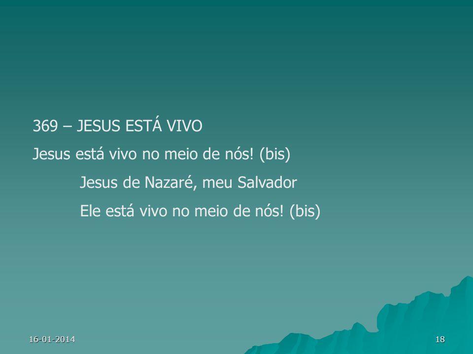 Jesus está vivo no meio de nós! (bis) Jesus de Nazaré, meu Salvador