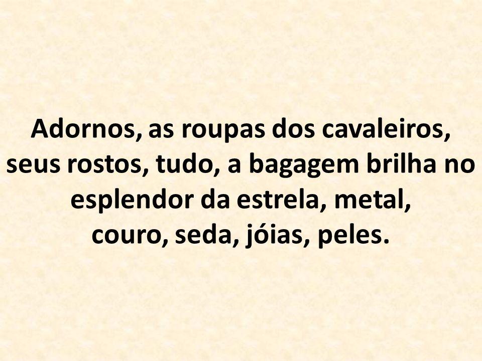 Adornos, as roupas dos cavaleiros, seus rostos, tudo, a bagagem brilha no esplendor da estrela, metal, couro, seda, jóias, peles.