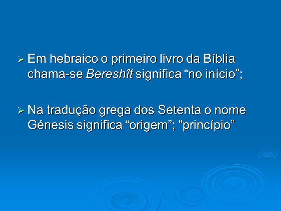 Em hebraico o primeiro livro da Bíblia chama-se Bereshît significa no início ;