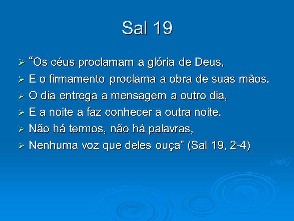 Sal 19 Os céus proclamam a glória de Deus,