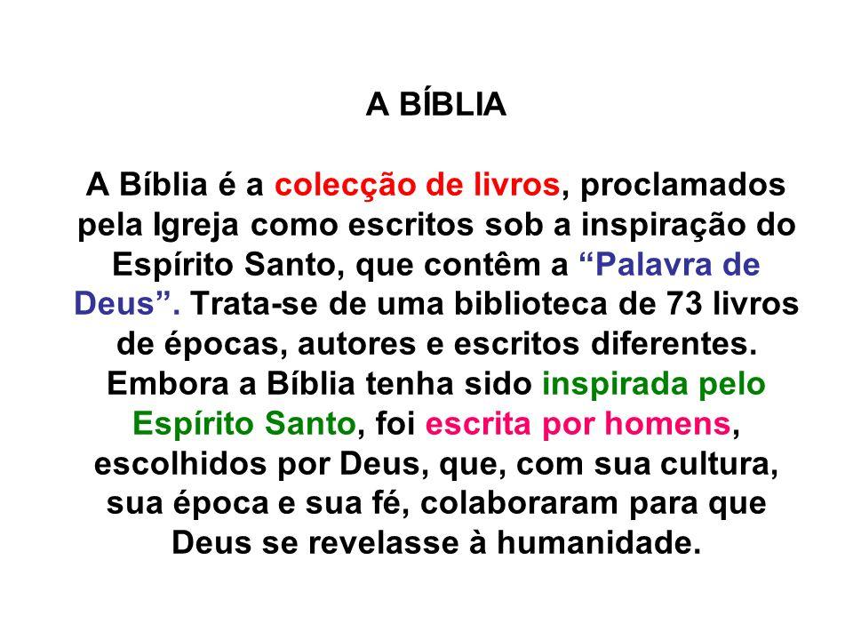 A BÍBLIA A Bíblia é a colecção de livros, proclamados pela Igreja como escritos sob a inspiração do Espírito Santo, que contêm a Palavra de Deus .