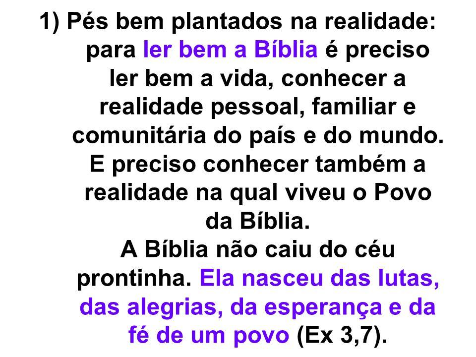 1) Pés bem plantados na realidade: para ler bem a Bíblia é preciso ler bem a vida, conhecer a realidade pessoal, familiar e comunitária do país e do mundo.