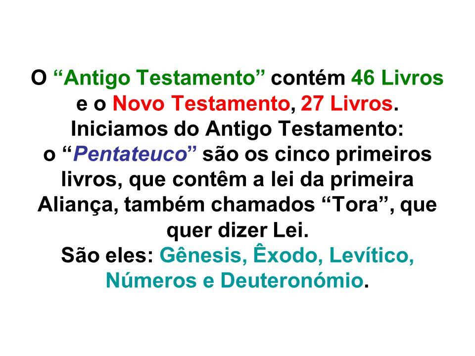 O Antigo Testamento contém 46 Livros e o Novo Testamento, 27 Livros