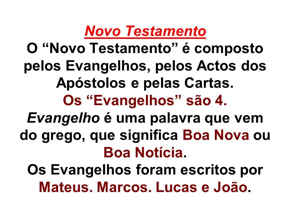 Novo Testamento O Novo Testamento é composto pelos Evangelhos, pelos Actos dos Apóstolos e pelas Cartas.
