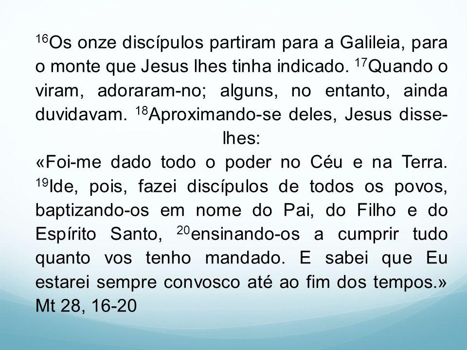 16Os onze discípulos partiram para a Galileia, para o monte que Jesus lhes tinha indicado.
