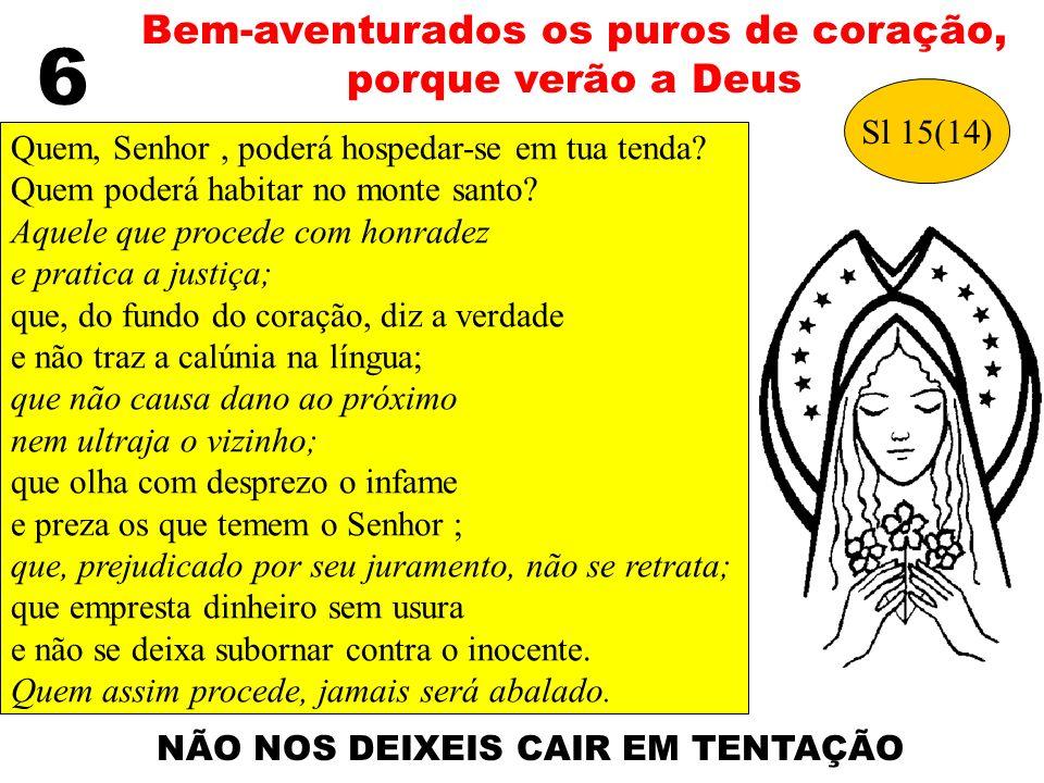 6 Bem-aventurados os puros de coração, porque verão a Deus Sl 15(14)