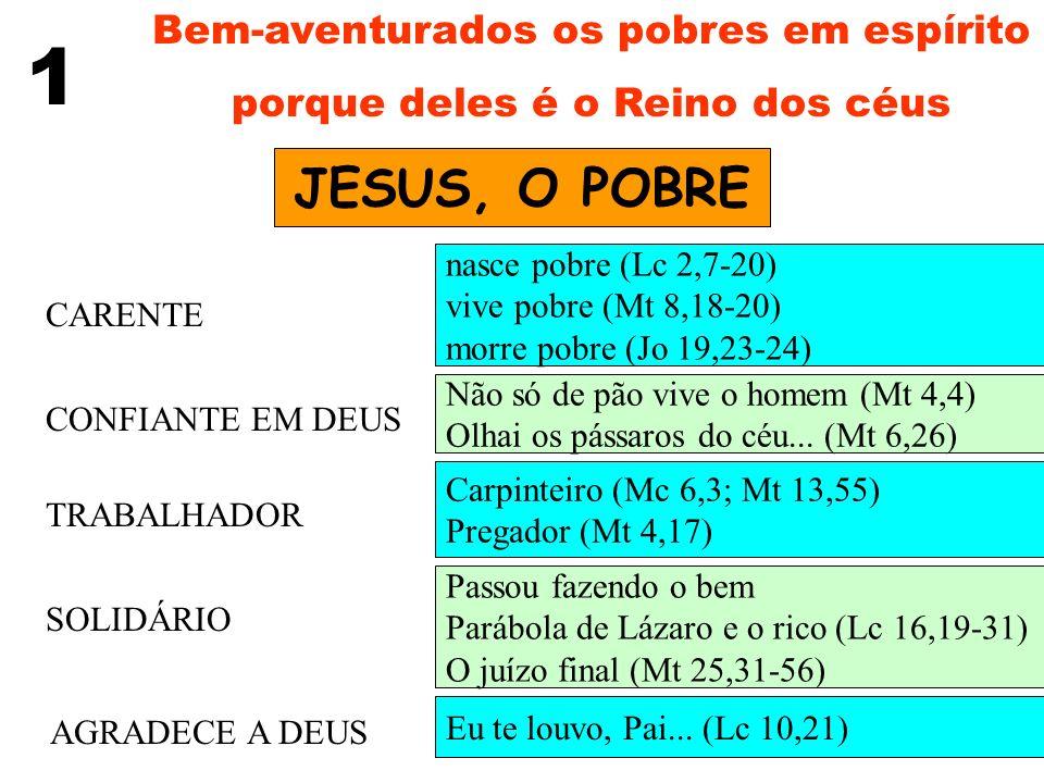 1 JESUS, O POBRE Bem-aventurados os pobres em espírito