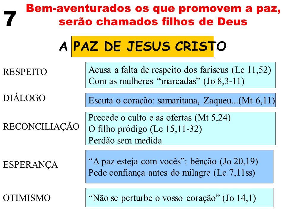 Bem-aventurados os que promovem a paz, serão chamados filhos de Deus