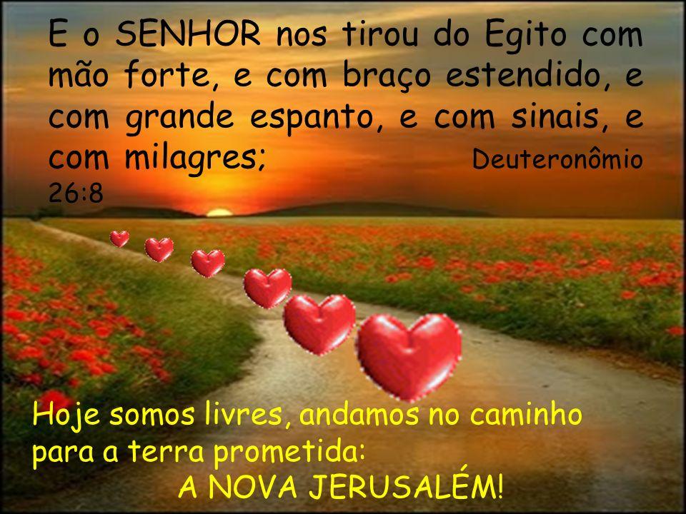 E o SENHOR nos tirou do Egito com mão forte, e com braço estendido, e com grande espanto, e com sinais, e com milagres; Deuteronômio 26:8
