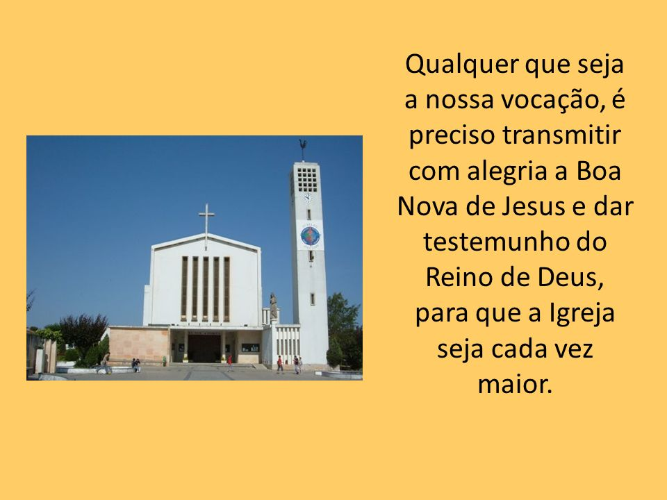 Qualquer que seja a nossa vocação, é preciso transmitir com alegria a Boa Nova de Jesus e dar testemunho do Reino de Deus, para que a Igreja seja cada vez maior.