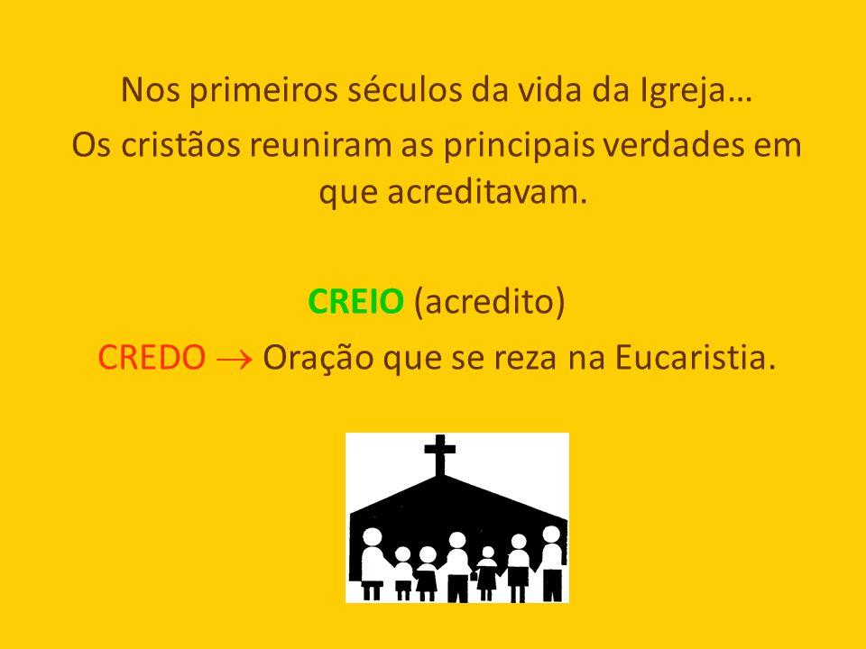 Nos primeiros séculos da vida da Igreja… Os cristãos reuniram as principais verdades em que acreditavam.