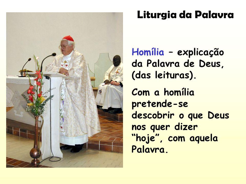 Liturgia da Palavra Homília – explicação da Palavra de Deus, (das leituras).