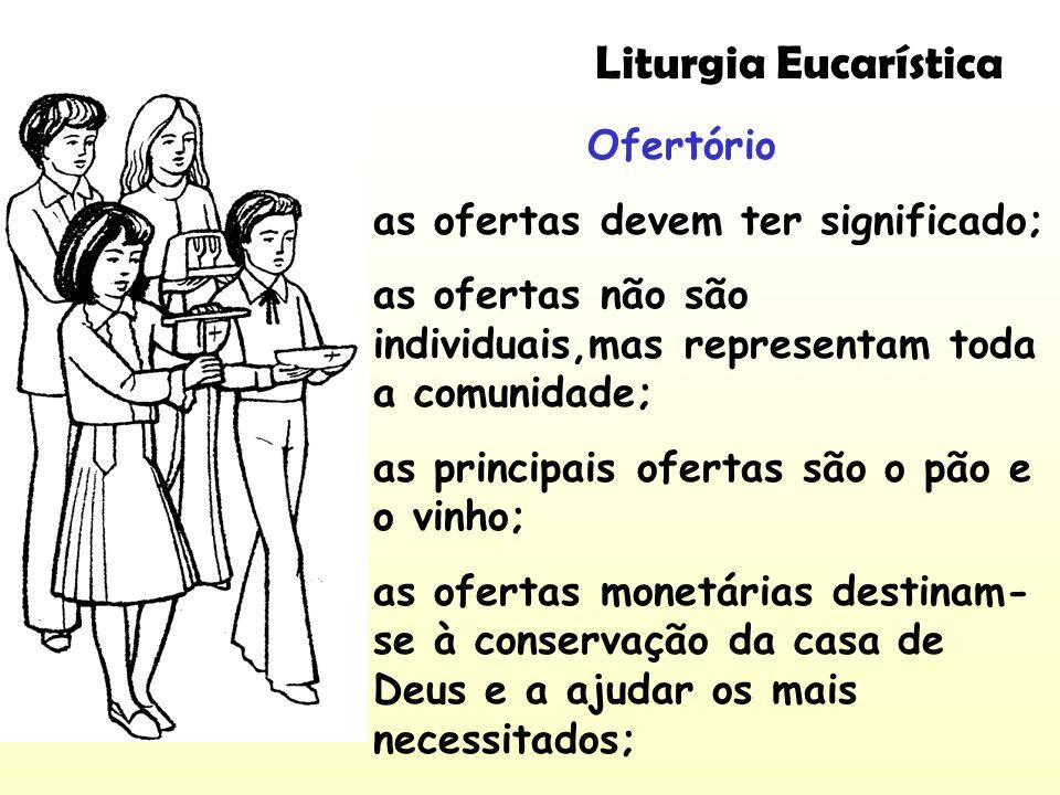 Liturgia Eucarística Ofertório as ofertas devem ter significado;