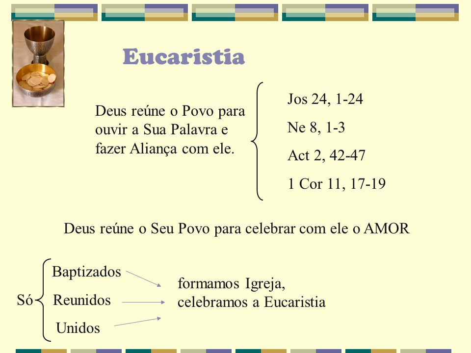 Eucaristia Jos 24, 1-24. Ne 8, 1-3. Act 2, 42-47. 1 Cor 11, 17-19. Deus reúne o Povo para ouvir a Sua Palavra e fazer Aliança com ele.