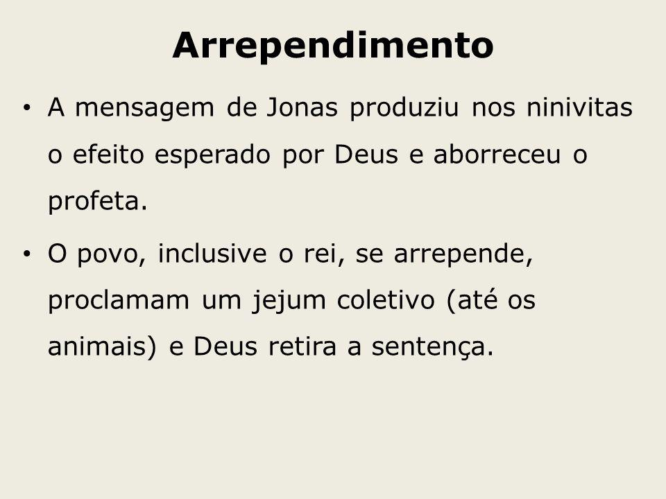 Arrependimento A mensagem de Jonas produziu nos ninivitas o efeito esperado por Deus e aborreceu o profeta.