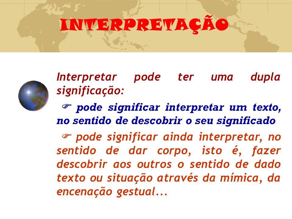 INTERPRETAÇÃO Interpretar pode ter uma dupla significação: