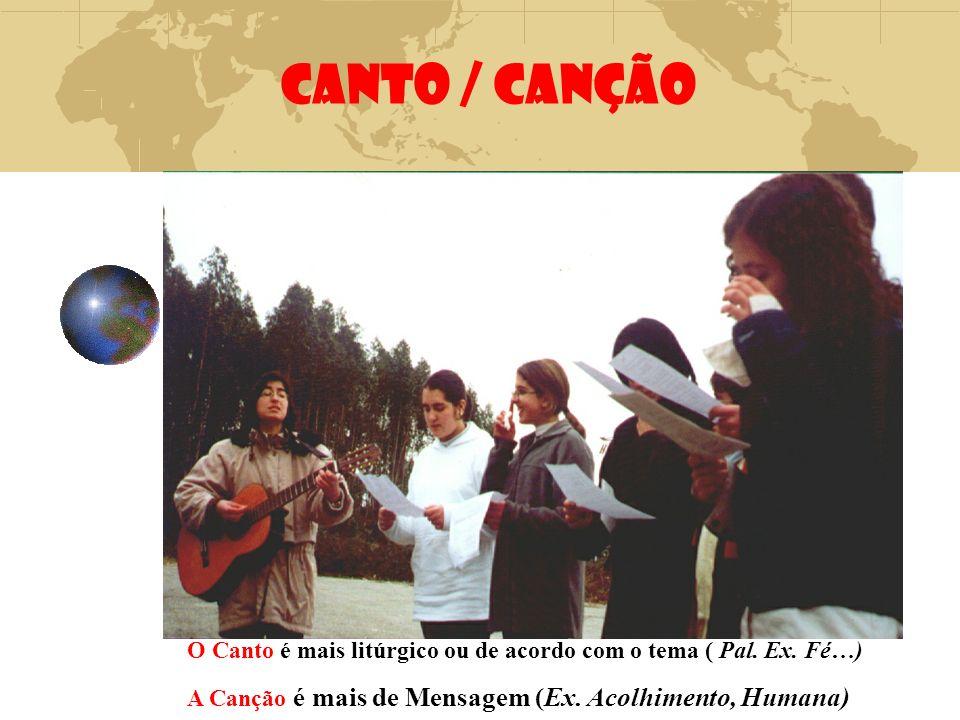 CANTO / CANÇÃO O Canto é mais litúrgico ou de acordo com o tema ( Pal.