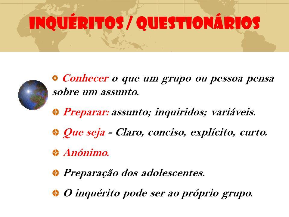 INQUÉRITOS / QUESTIONÁRIOS