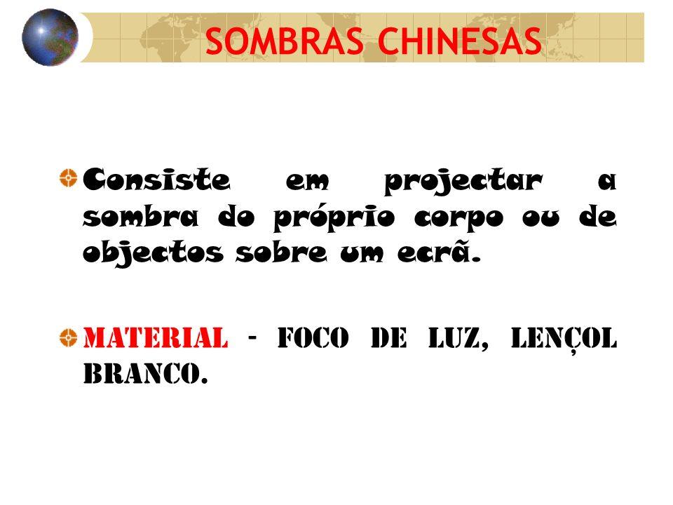 SOMBRAS CHINESAS Consiste em projectar a sombra do próprio corpo ou de objectos sobre um ecrã.