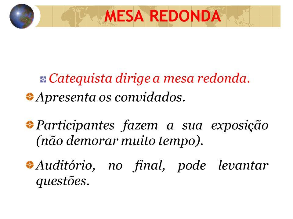 MESA REDONDA Catequista dirige a mesa redonda.