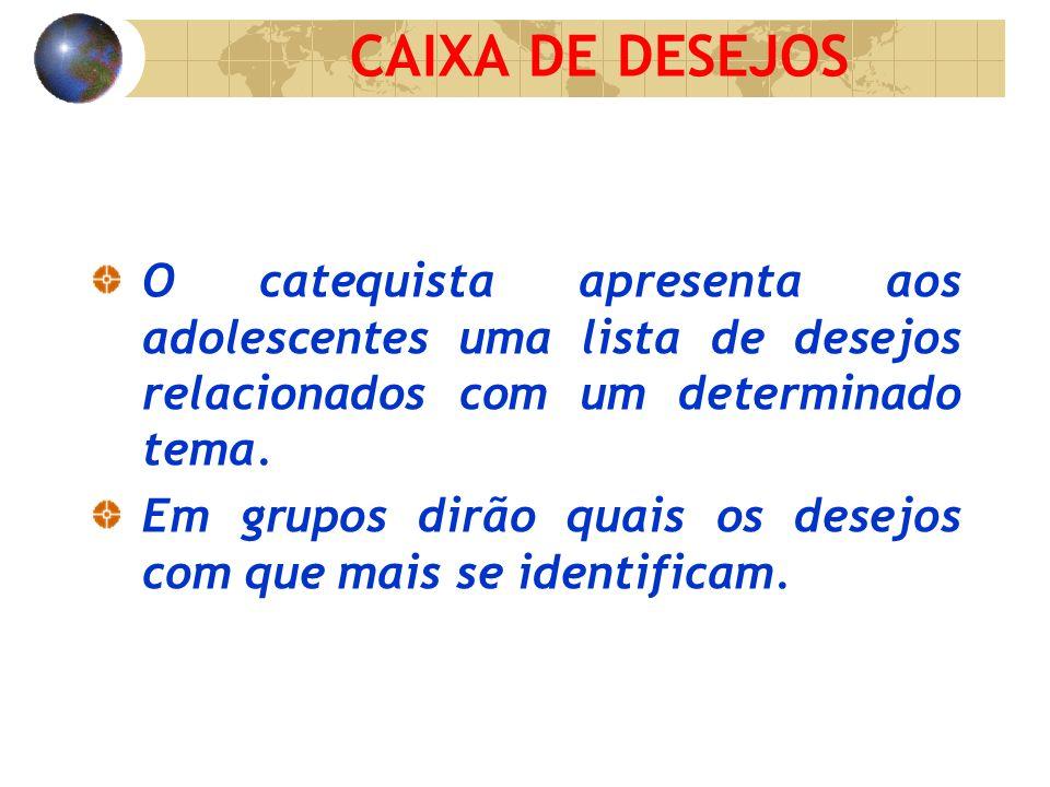 CAIXA DE DESEJOS O catequista apresenta aos adolescentes uma lista de desejos relacionados com um determinado tema.