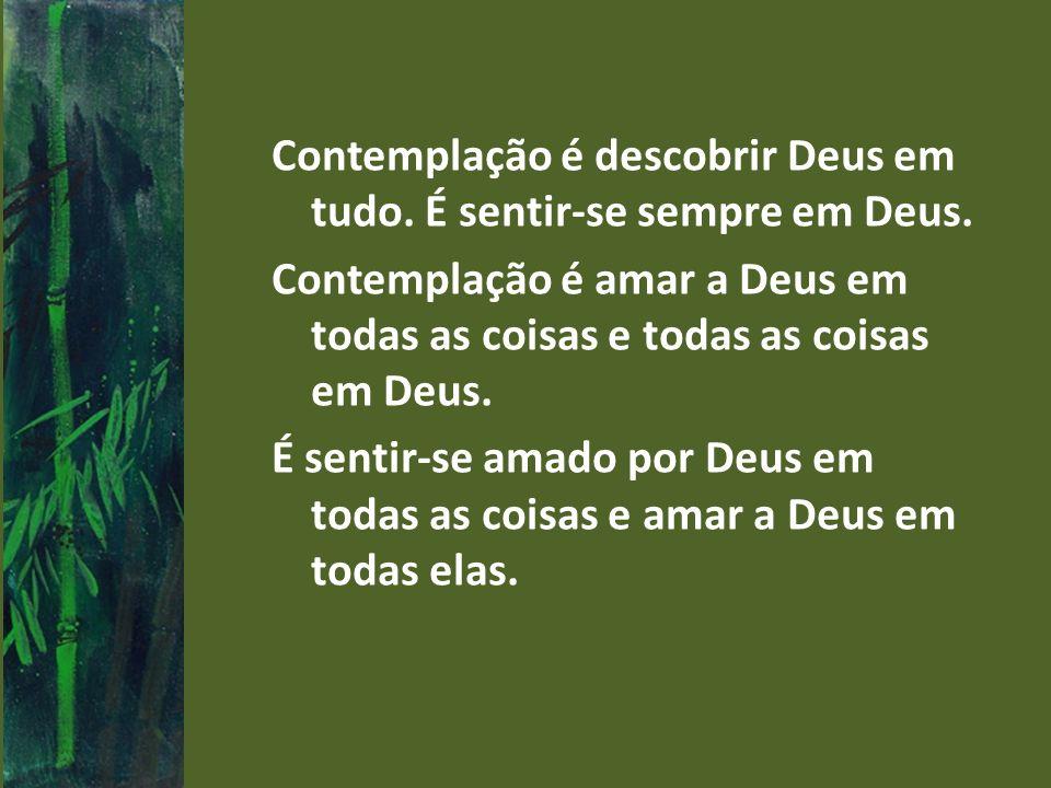 Contemplação é descobrir Deus em tudo. É sentir-se sempre em Deus
