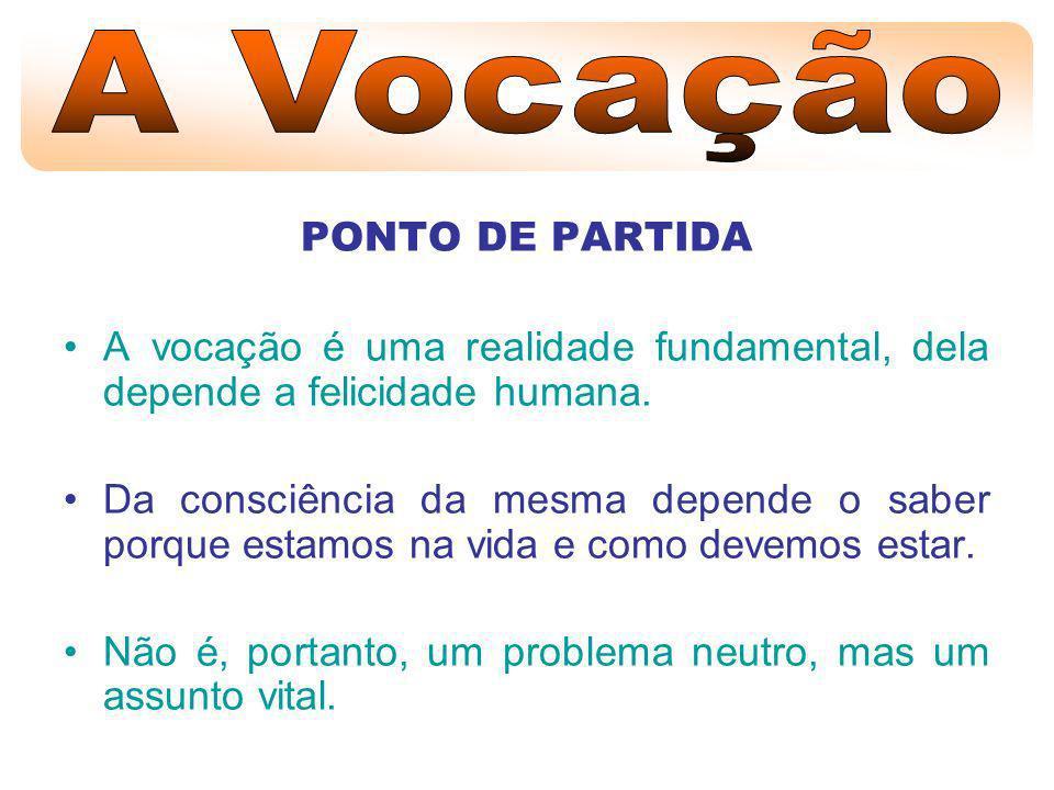 A Vocação PONTO DE PARTIDA. A vocação é uma realidade fundamental, dela depende a felicidade humana.