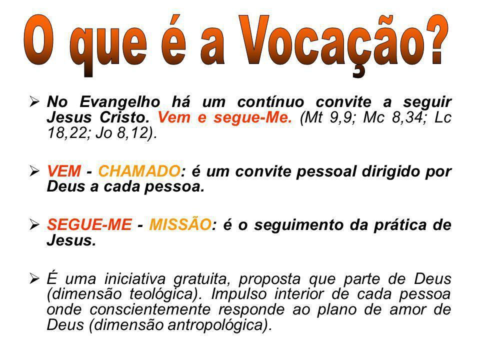O que é a Vocação No Evangelho há um contínuo convite a seguir Jesus Cristo. Vem e segue-Me. (Mt 9,9; Mc 8,34; Lc 18,22; Jo 8,12).