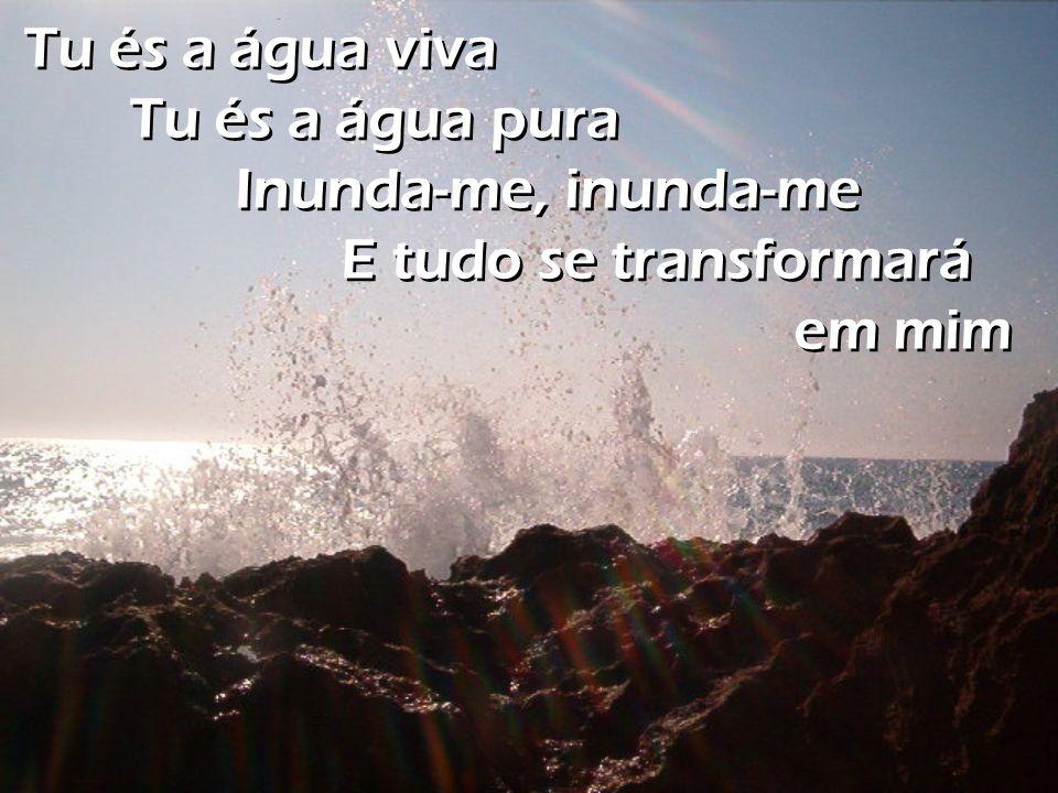 Tu és a água viva Tu és a água pura Inunda-me, inunda-me E tudo se transformará em mim