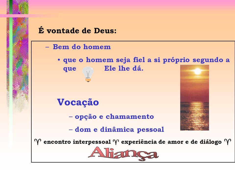 Aliança Vocação É vontade de Deus: Bem do homem