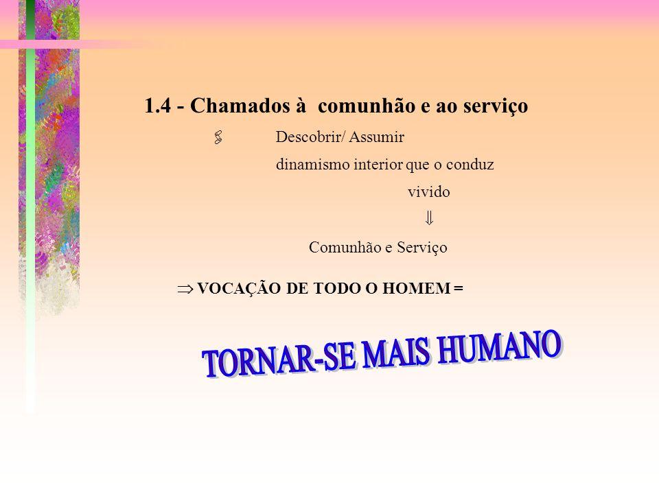 TORNAR-SE MAIS HUMANO 1.4 - Chamados à comunhão e ao serviço