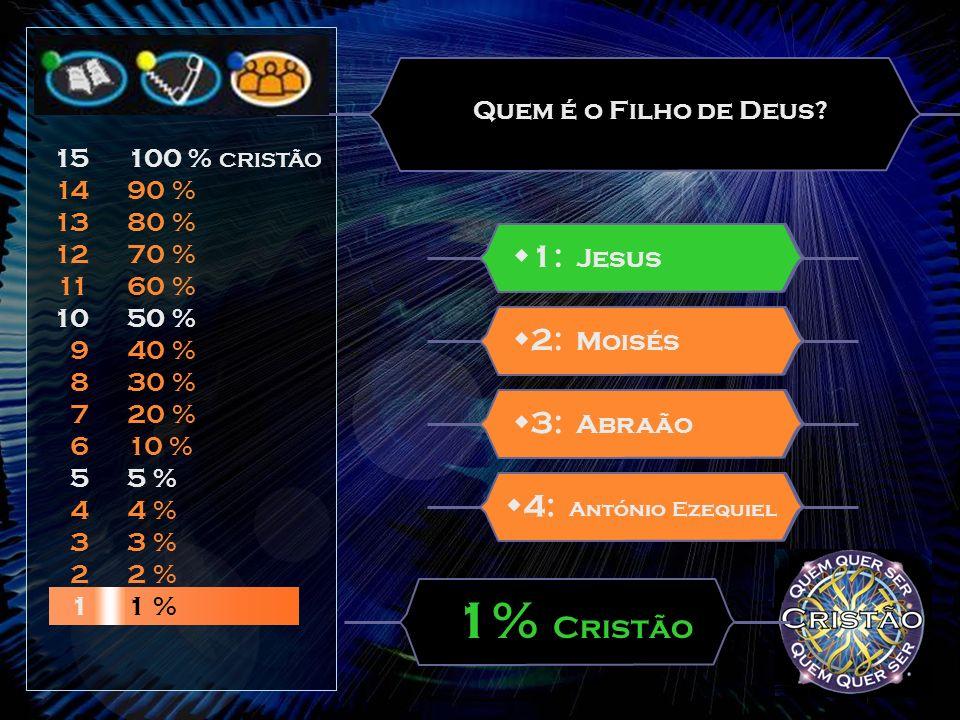1% Cristão w1: Jesus w2: Moisés w3: Abraão w4: António Ezequiel