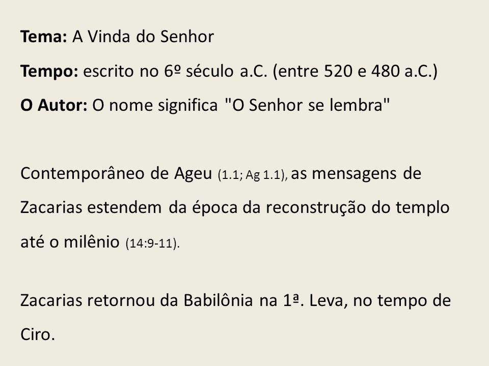 Tema: A Vinda do Senhor Tempo: escrito no 6º século a.C. (entre 520 e 480 a.C.) O Autor: O nome significa O Senhor se lembra