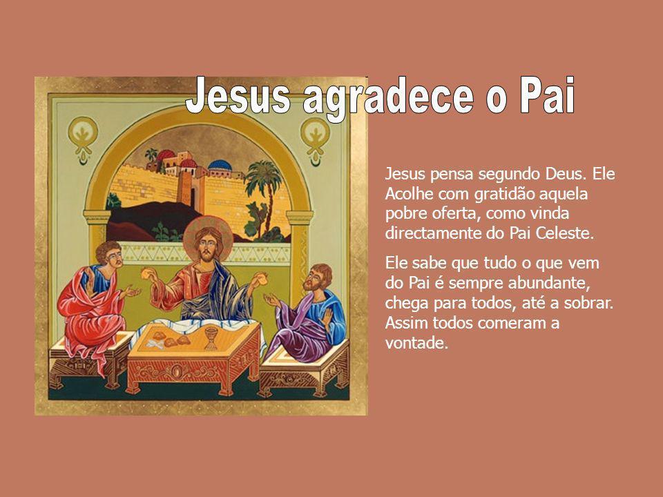 Jesus agradece o PaiJesus pensa segundo Deus. Ele Acolhe com gratidão aquela pobre oferta, como vinda directamente do Pai Celeste.