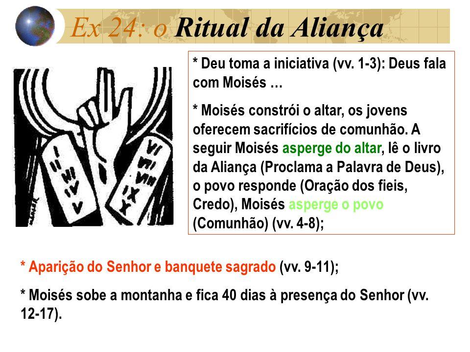 Ex 24: o Ritual da Aliança * Deu toma a iniciativa (vv. 1-3): Deus fala com Moisés …