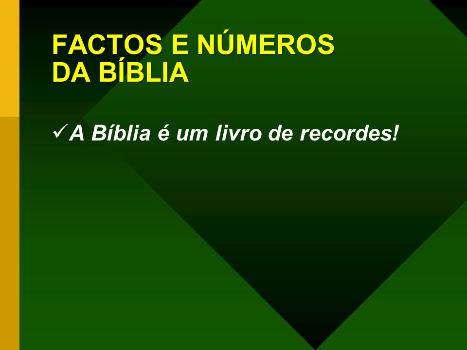 FACTOS E NÚMEROS DA BÍBLIA