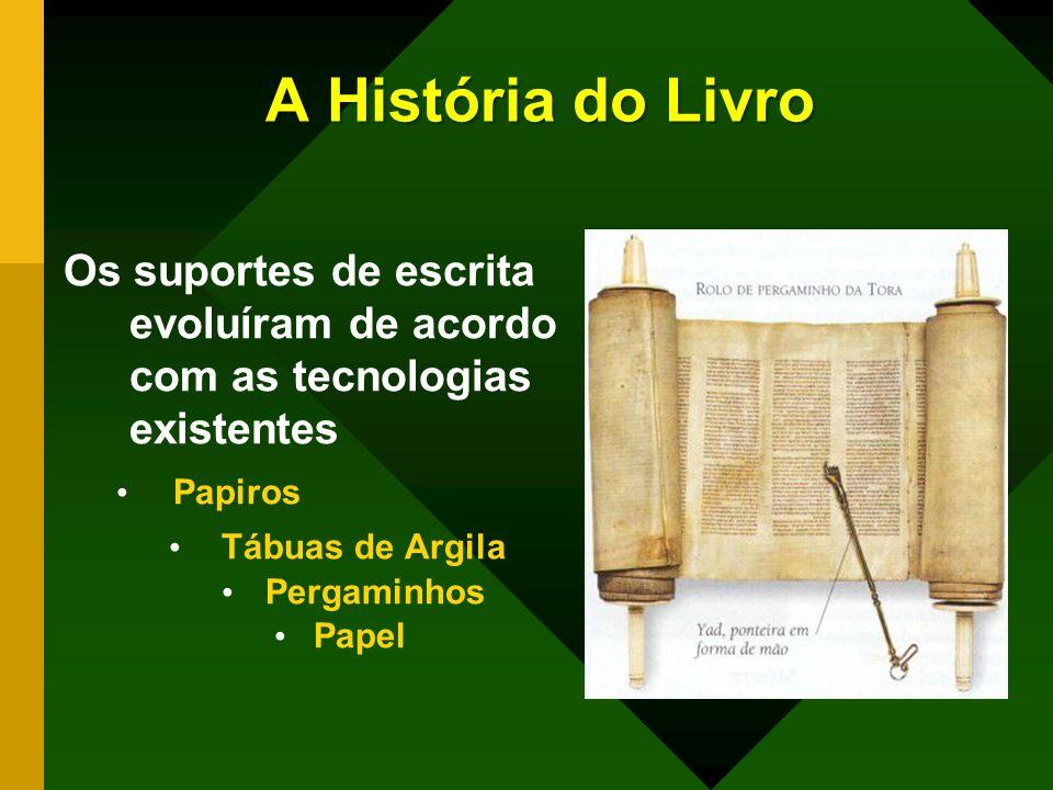 A História do Livro Os suportes de escrita evoluíram de acordo com as tecnologias existentes. Papiros.