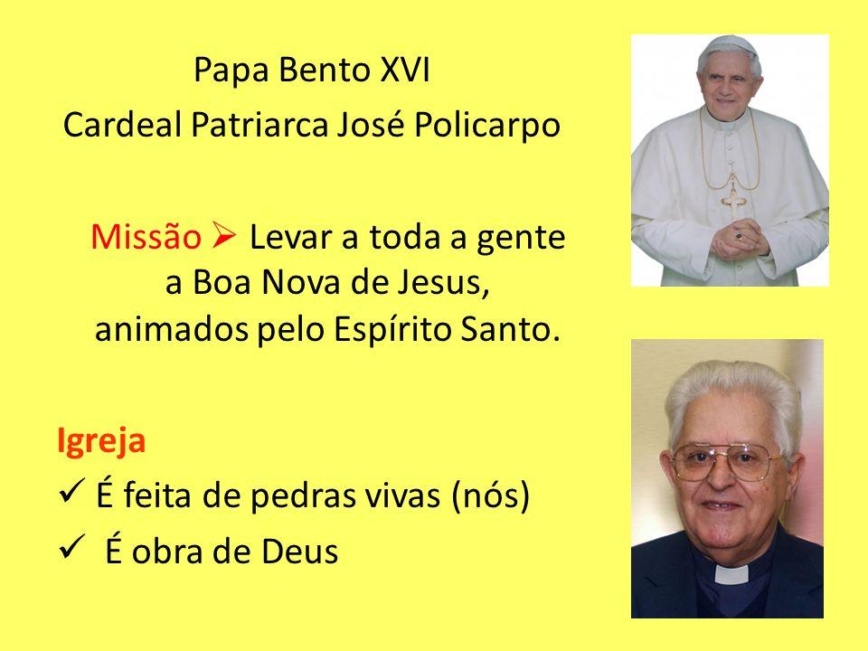 Papa Bento XVI Cardeal Patriarca José Policarpo Missão  Levar a toda a gente a Boa Nova de Jesus, animados pelo Espírito Santo.