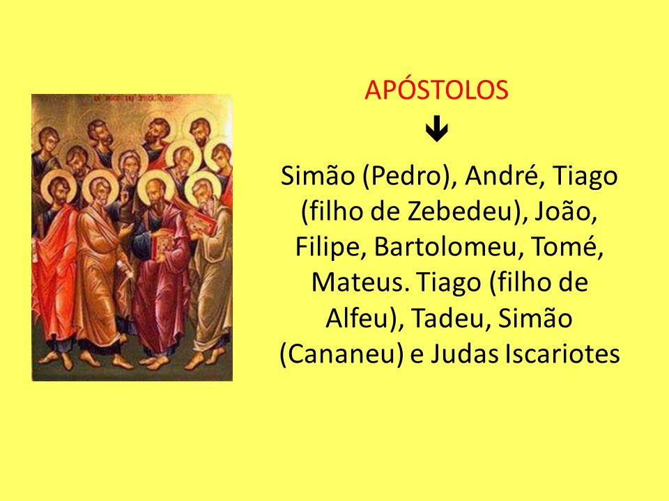 APÓSTOLOS  Simão (Pedro), André, Tiago (filho de Zebedeu), João, Filipe, Bartolomeu, Tomé, Mateus.