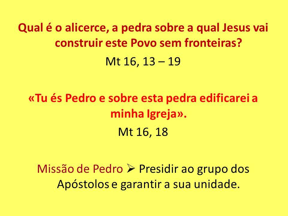 Qual é o alicerce, a pedra sobre a qual Jesus vai construir este Povo sem fronteiras.