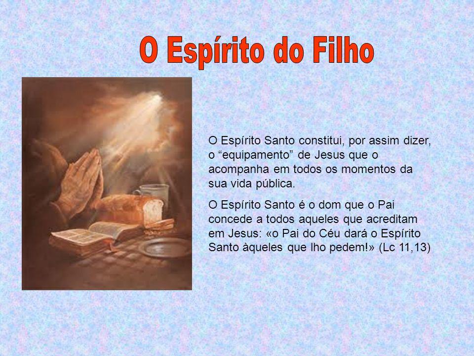 O Espírito do Filho O Espírito Santo constitui, por assim dizer, o equipamento de Jesus que o acompanha em todos os momentos da sua vida pública.