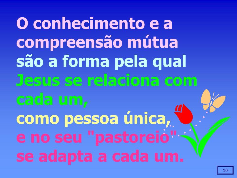 O conhecimento e a compreensão mútua são a forma pela qual Jesus se relaciona com cada um, como pessoa única, e no seu pastoreio se adapta a cada um.