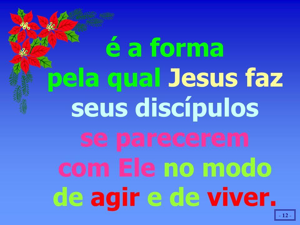 é a forma pela qual Jesus faz seus discípulos se parecerem com Ele no modo de agir e de viver.