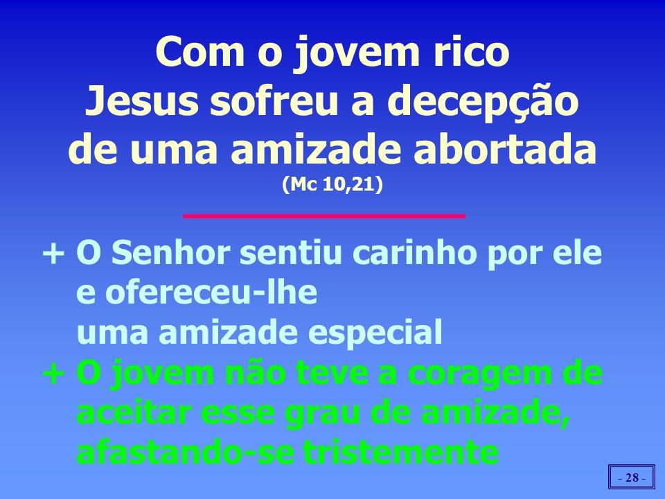 Com o jovem rico Jesus sofreu a decepção de uma amizade abortada (Mc 10,21)