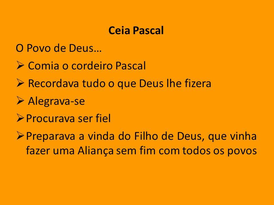 Ceia PascalO Povo de Deus…  Comia o cordeiro Pascal.  Recordava tudo o que Deus lhe fizera.  Alegrava-se.
