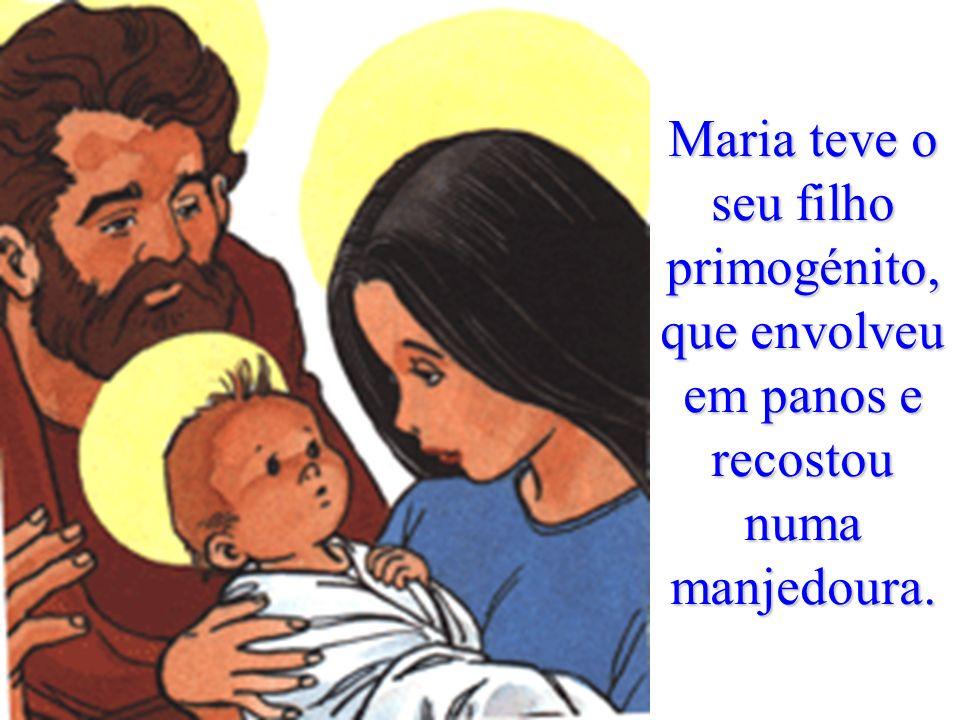 Maria teve o seu filho primogénito, que envolveu em panos e recostou numa manjedoura.