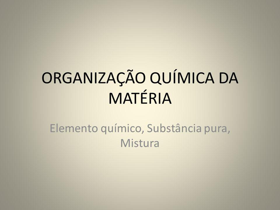 ORGANIZAÇÃO QUÍMICA DA MATÉRIA